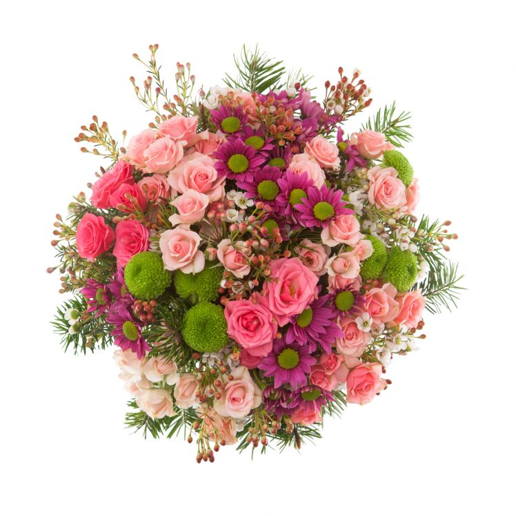 Bouquet made of Roses, miniature Roses, Chrysanthemum and Lilac flowers seen from above.